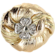 Four Leaf Clover Diamond Cocktail Ring Vintage 14 Karat Tri Gold Estate Jewelry Fine