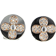 Four Leaf Clover Round Earrings Vintage 18 Karat Rose White Gold Estate Fine Jewelry