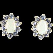 Opal Tanzanite Oval Stud Earrings Vintage 14 Karat Yellow Gold Estate Fine Jewelry