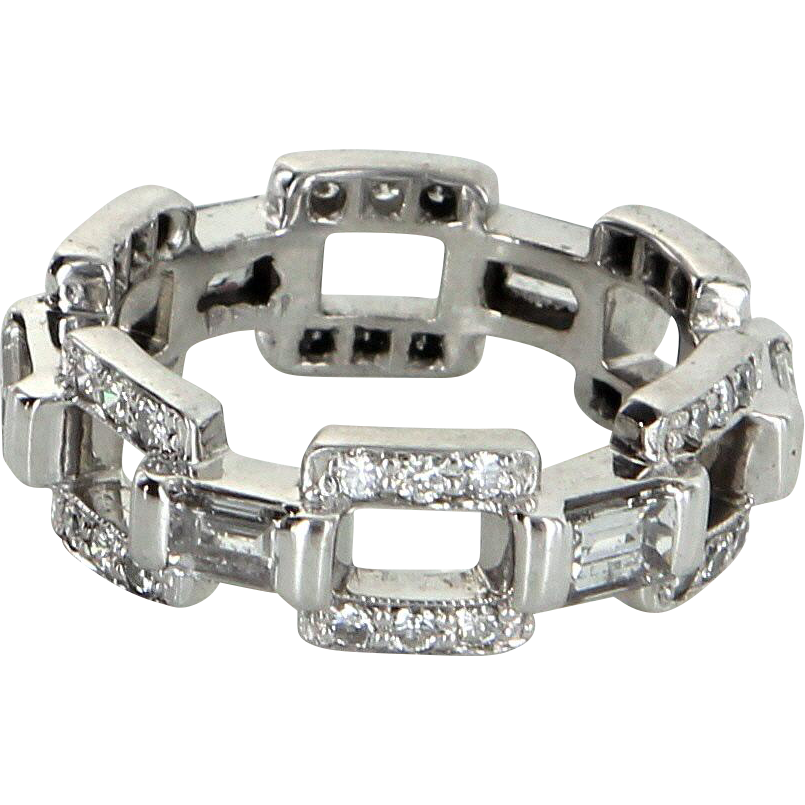Diamond Square Link Eternity Ring Sz 5.5 Vintage 14 Karat White Gold Estate Jewelry