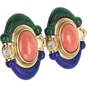Lapis Coral Malachite Diamond Cocktail Earrings Vintage 14 Karat Gold Estate Jewelry