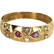 Antique Victorian c1888 Chester Hallmarked Ruby Pearl Band 15 Karat Gold English