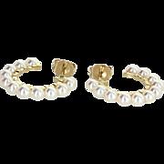 Cultured Pearl Hoop Earrings Vintage 14 Karat Yellow Gold Estate Fine Jewelry