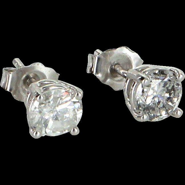 Diamond Stud Earrings 0.75ct Vintage 14 Karat White Gold Estate Fine Jewelry