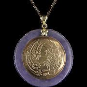 Lavender Jade Round Pendant Vintage 14 Karat Gold Bird Motif Estate Fine Jewelry