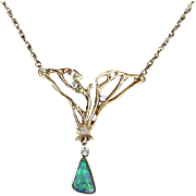 Boulder Opal Diamond Necklace Vintage 14 Karat Yellow Gold Estate Fine Jewelry
