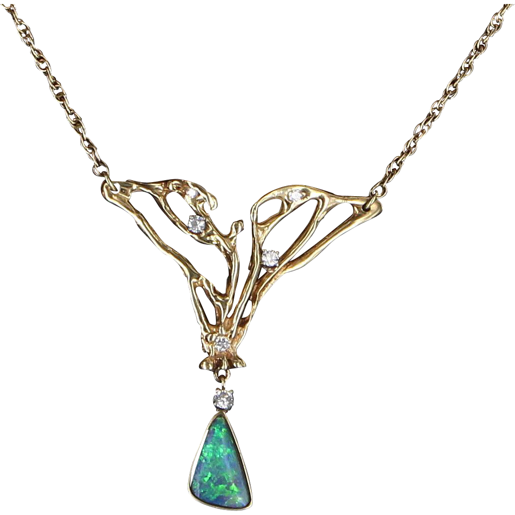 Boulder Opal Diamond Necklace Vintage 14 Karat Yellow Gold Estate Fine Jewelry