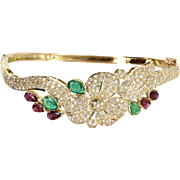 Flower Bangle Bracelet Diamond Emerald Ruby Vintage 18 Karat Gold Estate Jewelry