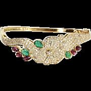 Flower Bangle Bracelet Diamond Emerald Ruby Vintage 18 Karat Gold Estate Jewelry