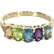 Rainbow Gemstone Ring Vintage 14 Karat Yellow Gold Estate Fine Jewelry Pre Owned