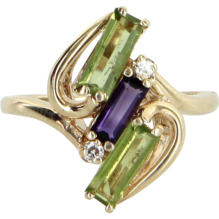 Peridot Amethyst Diamond Cocktail Ring Vintage 14 Karat Gold Estate Fine Jewelry