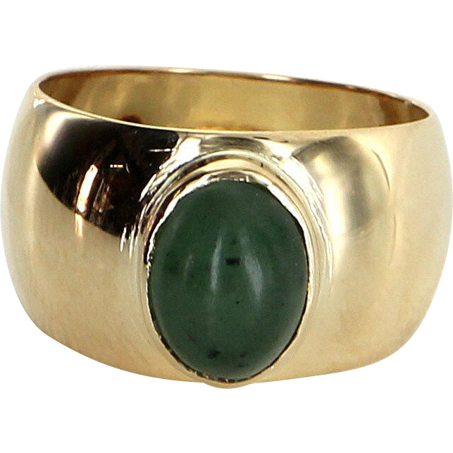 French Hallmarked Aventurine Quartz Pinky Cocktail Ring 18 Karat Yellow Gold Jewelry