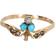 Antique Victorian Flower Posey Ring Vintage 14 Karat Rose Gold Pearl Turquoise Estate
