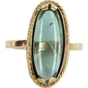 Cabochon Aquamarine Oval Cocktail Ring Vintage 14 Karat Yellow Gold Estate Jewelry