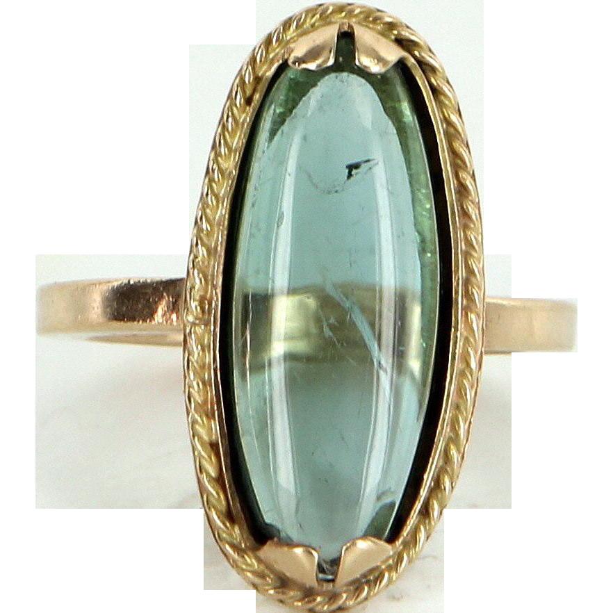 Cabochon Aquamarine Oval Cocktail Ring Vintage 14 Karat Yellow Gold Estate Jewelry