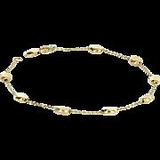 Bean Bracelet Vintage 14 Karat Yellow Gold Estate Fine Jewelry Pre Owned Heirloom