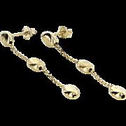 Bean Dangle Drop Earrings Vintage 14 Karat Yellow Gold Estate Fine Jewelry Pre Owned