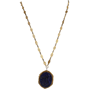 Antique Victorian Statement Necklace 14 Karat Yellow Gold Lapis Vintage Fine Jewelry