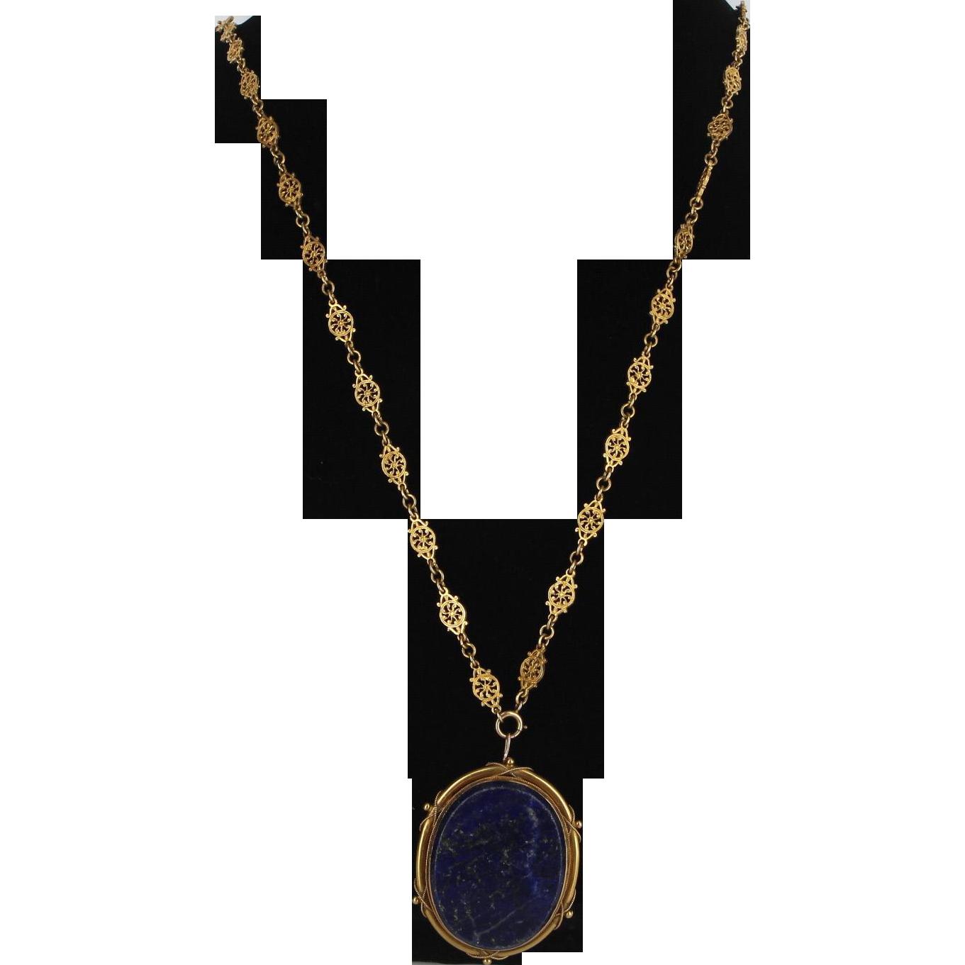 Antique Victorian Statement Necklace 14 Karat Yellow Gold Lapis Vintage Fine Jewelry