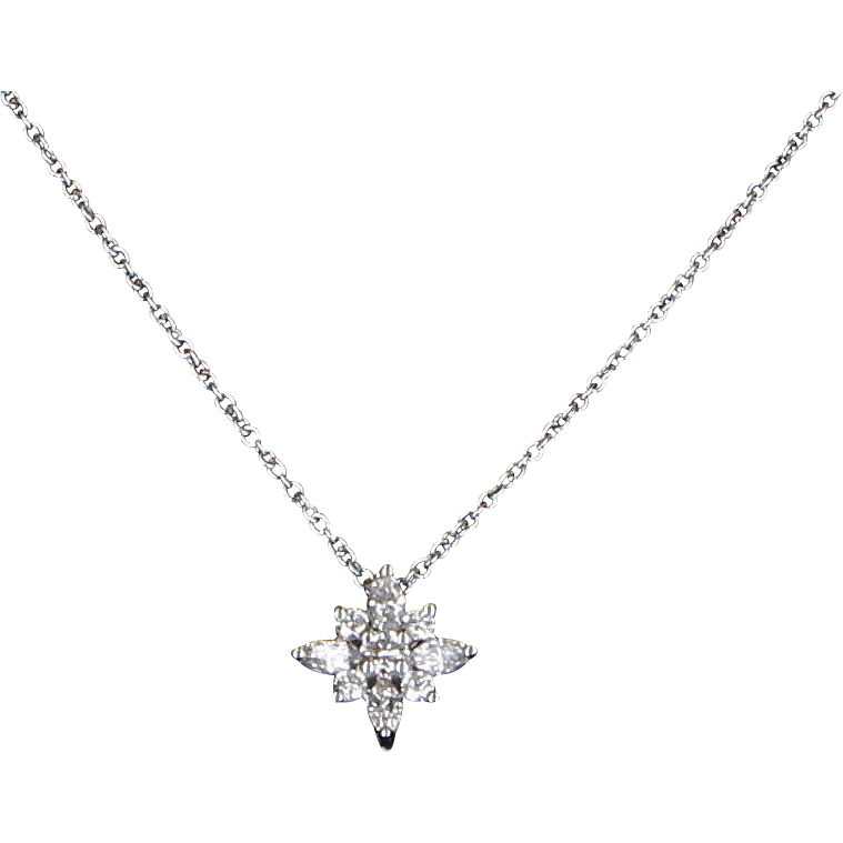 Kwiat Diamond Star Pendant Estate 18 Karat White Gold Designer Signed Jewelry