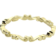 Hidalgo Sz 6.5 Scrolled Eternity Stacking Ring Estate Designer 18 Karat Yellow Gold