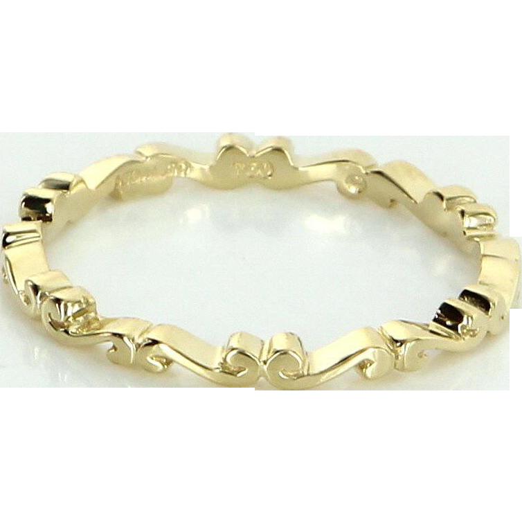 Hidalgo Sz 6.5 Scrolled Eternity Stacking Ring Estate Designer 18 Karat Yellow Gold