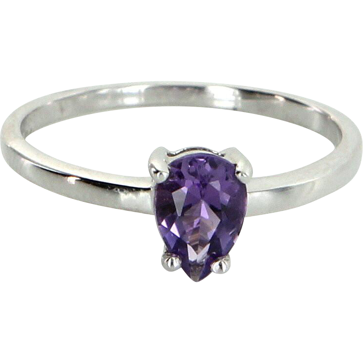 Amethyst Stacking Ring Sz 7 Vintage 10 Karat White Gold Estate Fine Jewelry Pre Owned