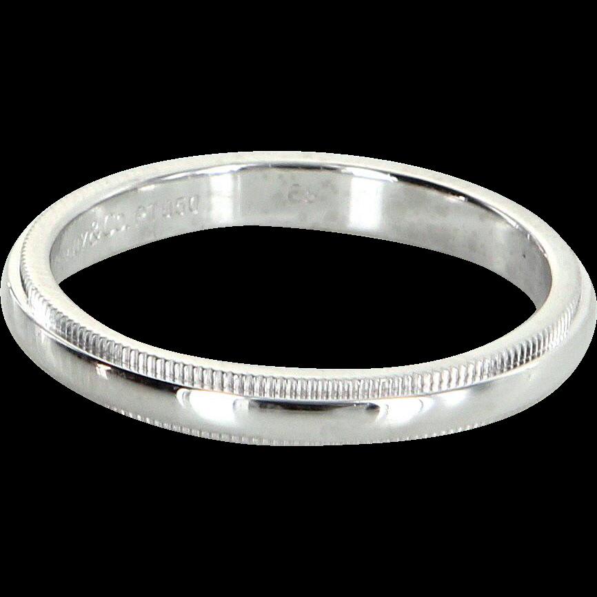 Tiffany Co Mens Sz 9 5 Milgrain Wedding Band Ring 950 Platinum From Pre