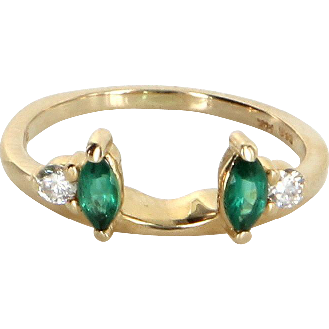 Emerald Diamond Wedding Ring Guard Wrap Vintage 14 Karat Yellow Gold Estate Jewelry