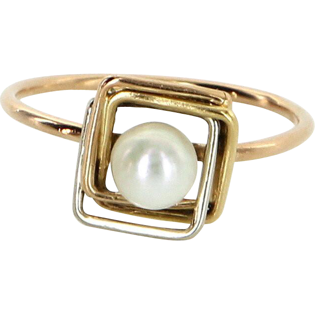 French Hallmarked Cultured Pearl Square Stacking Ring Vintage 18 Karat Gold Jewelry