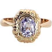 Russian Amethyst Cocktail Ring Vintage 14 Karat Rose Gold Estate Fine Jewelry
