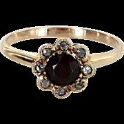 Antique Victorian Garnet Rose Cut Diamond 14 Karat Gold Daisy Ring Vintage Jewelry
