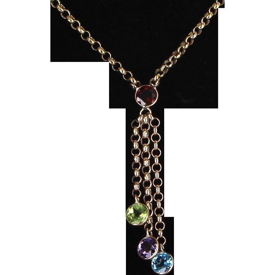 Rainbow Gemstone Fringe Necklace 10 Karat Yellow Gold Belcher Link Estate Jewelry