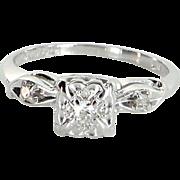 Diamond Engagement Ring Vintage 14 Karat White Gold Estate Fine Jewelry Heirloom