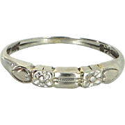 Vintage Art Deco Embossed Flower Child Pinky Ring Estate 14k Gold Estate Jewelry