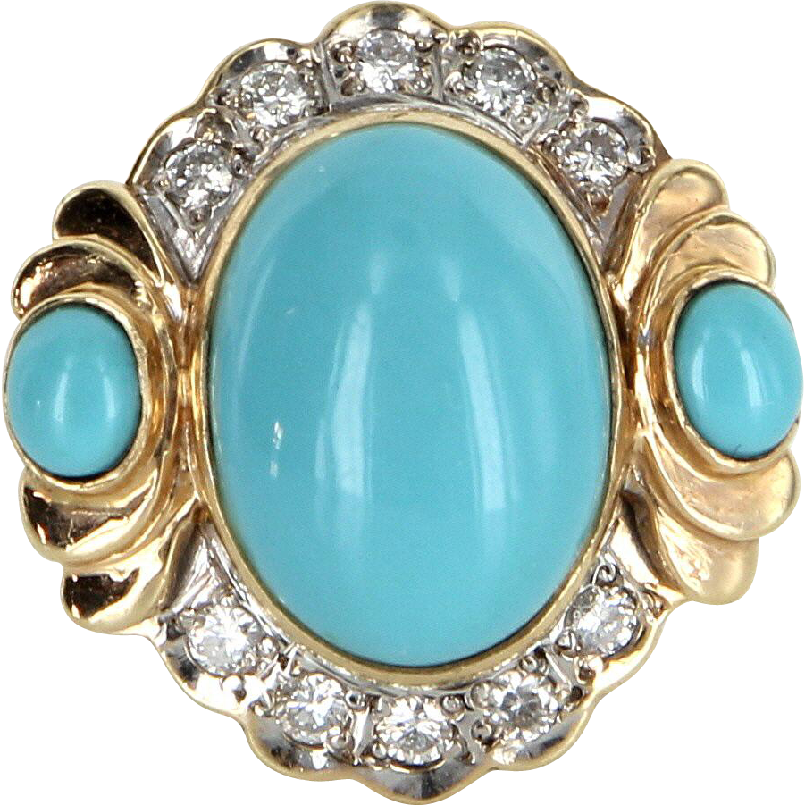 Turquoise Diamond Cocktail Ring Vintage 14 Karat Gold Estate Fine Jewelry Heirloom