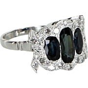 Sapphire Diamond Antique Deco 900 Platinum Ring Vintage Estate Heirloom Jewelry