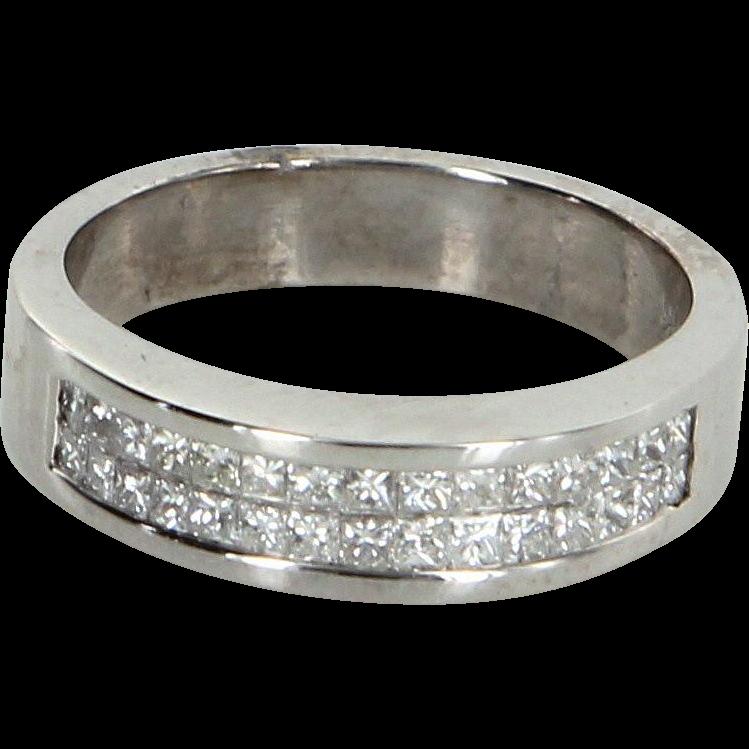 1ct Princess Cut Diamond Band Ring Vintage 18 Karat White Gold Estate Fine Jewelry