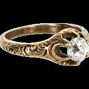 Antique Victorian Mine Cut Paste Engagement Ring or Semi Mount 14 Karat Gold Vintage