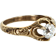 Antique Victorian Mine Cut Paste Engagement Ring or Semi Mount 14 Karat Gold Vintage