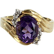 Amethyst Diamond Cocktail Ring Vintage 10 Karat Yellow Gold Estate Pre Owned Jewelry