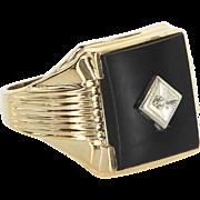 Mens Onyx Diamond Ring Vintage 10 Karat Yellow Gold Estate Fine Jewelry Pre Owned