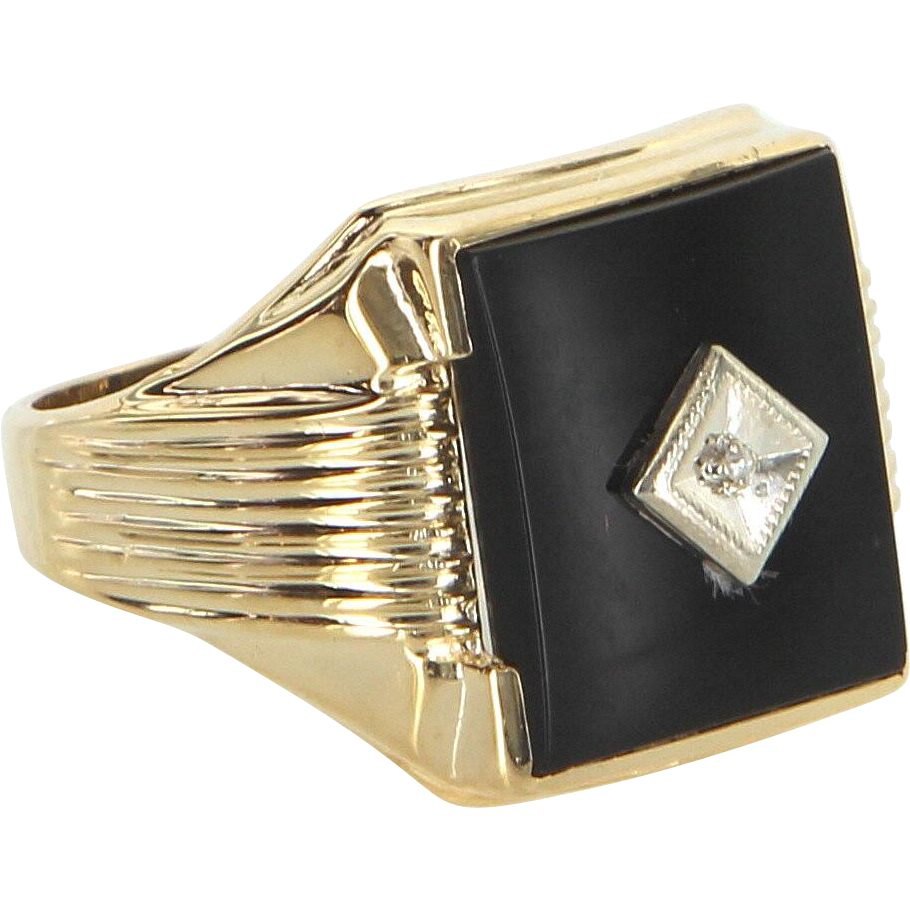 Mens Onyx Diamond Ring Vintage 10 Karat Yellow Gold Estate Fine Jewelry Pre Owned