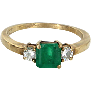 Emerald Diamond Stacking Ring Vintage 14 Karat Gold Estate Fine Jewelry Pre Owned