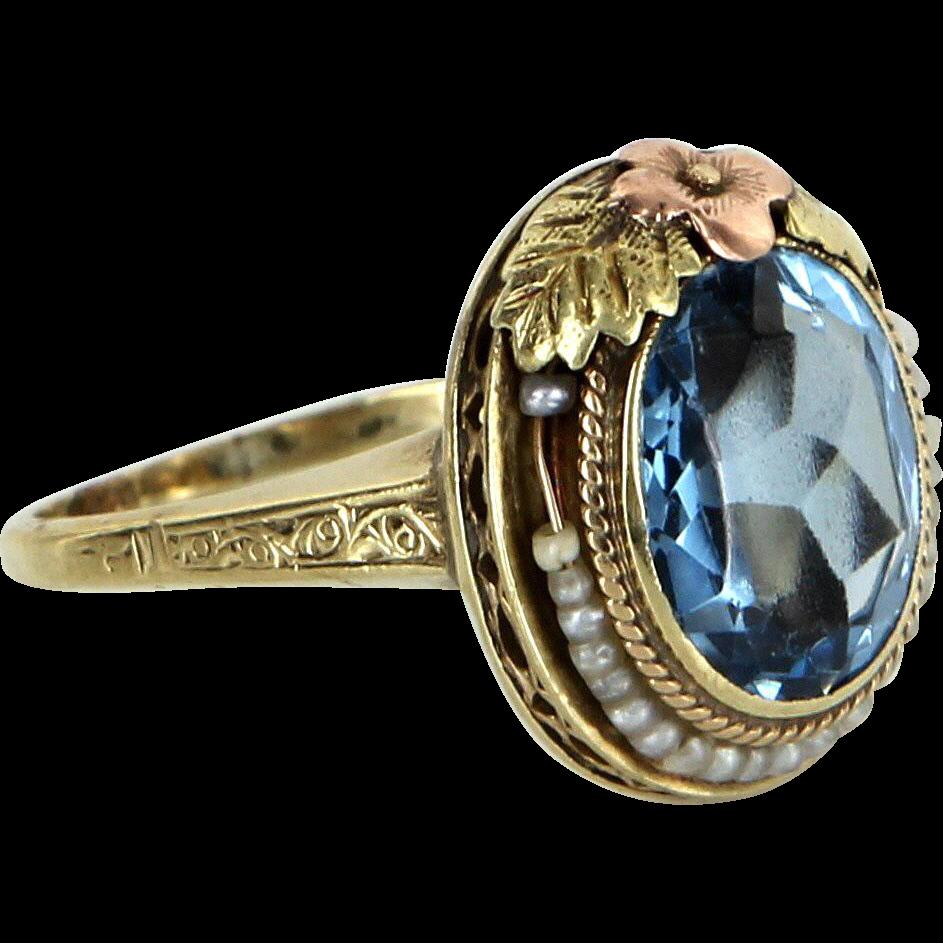 Blue Topaz Seed Pearl Ring Antique Deco Filigree Flower 14 Karat Gold Vintage Estate