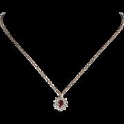 Ruby Diamond Princess Pendant Vintage 14 Karat Yellow Gold Estate Fine Jewelry
