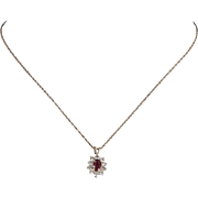 Ruby Diamond Princess Pendant Vintage 14 Karat Yellow Gold Estate Fine Jewelry