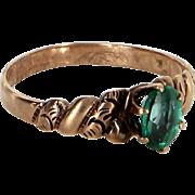 Antique Victorian 10 Karat Rose Gold Green Paste Ring Vintage Fine Jewelry Heirloom