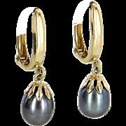 Cultured Black Pearl Drop Earrings Vintage 14 Karat Yellow Gold Estate Fine Jewelry