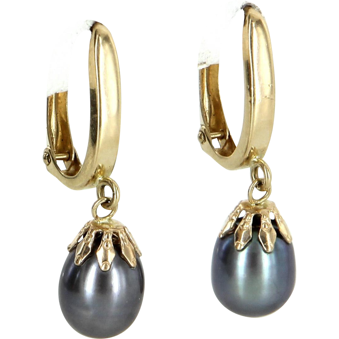 Cultured Black Pearl Drop Earrings Vintage 14 Karat Yellow Gold Estate Fine Jewelry